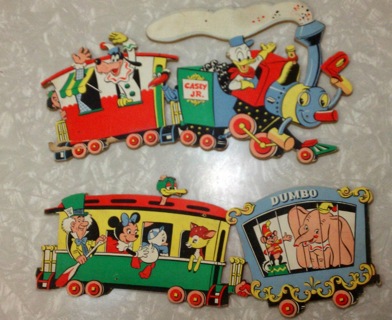 Vintage 2 Piece Disney Casey Jr Train Set Dumbo Bambi Goofy