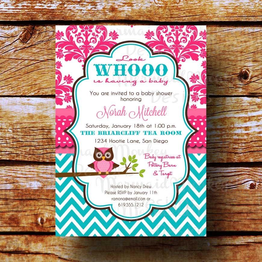 baby shower invitation owl shower by mermaidmonkeydesigns on etsy