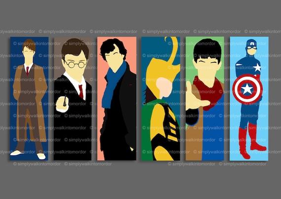Doctor Who / Harry Potter / Sherlock / Merlin / Captain America / Loki Bookmarks