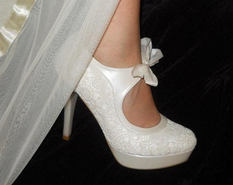 Handmade lace  wedding shoe designed specially #8441