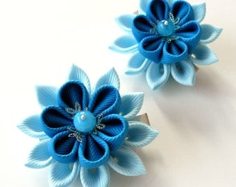 Kanzashi  Fabric Flowers. Set of 2 hair clips. Shades of blue.