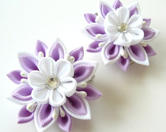 Kanzashi  Fabric Flowers. Set of 2 hair clips. Orchid and white.
