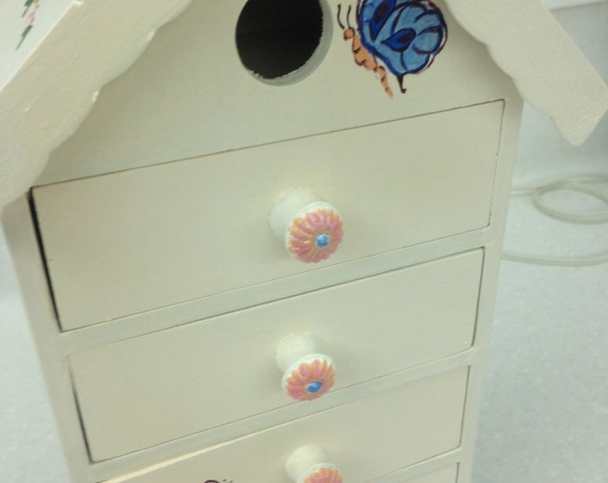 Birdhouse Shaped Jewelry or Accessory Box with Butterfly and Flower Decorations