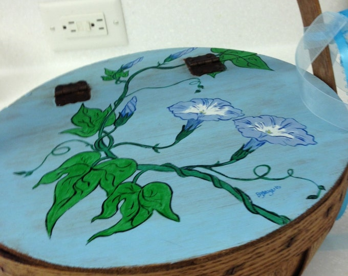 Solid Oak Hinged Lid 10 inch diameter Basket. Morning Glories painted in Acrylic on Top