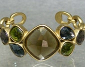Vintage Anne Klein Cuff Bracelet with Faceted Earth Tone Glass Stones