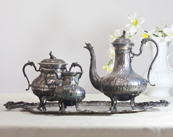 Antique Victorian Tea Set: Silver Plated Pewter Vintage Tea or Coffee Serving Set Teapot, Tray, Creamer & Sugar Container, Tea Service