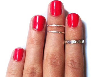 3 Above the Knuckle Silver rings - Z Classic Silver Combo - set of 3 rings stackable midi rings