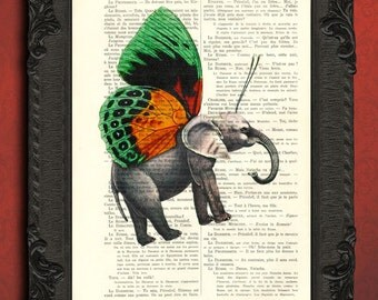 flying elephant print elephant art print elephant with butterfly wings poster