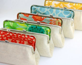 Plain Linen with Colourful Fabric Lining Wedding Clutches / Bridesmaids Clutches / Wedding Gifts - Set of 7