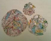 Vintage Map Circles Atlas Punches Travel Journal Paper VelvetSoup