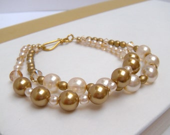 Pearl Bridal Bracelet, Gold Bridal Bracelet, Bridal Bracelet, Wedding Jewelry, Double Strand Bracelet - Golden Baroness