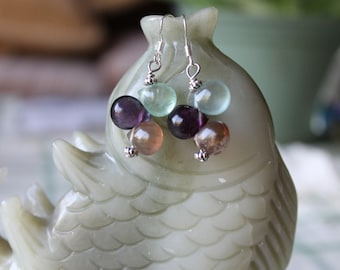 Beautiful Three Color Fluorite Earrings, sterling silver hook