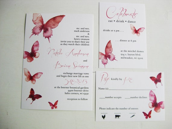 Wedding Butterfly Invitations: Watercolor Butterfly Wedding Invitations Dco Lovenotes