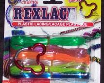 Rexlace plastic lacing assortment with bonus key clip,27 yds,ass't colors,gimp,kids craft,USA Made,lanyards,beading,braiding,VBS,camp