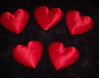 Red satin puffy hearts,6/pkg,2.5 inch,love,crafts,embellishment,Valentine's,wedding,anniversary