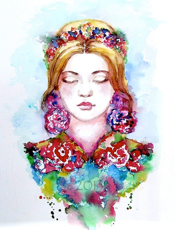 Original Watercolor Bohemian Fashion Illustration by Lana Moes