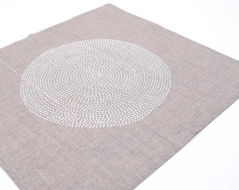 Cloth  napkins. Hand printed on natural linen. Placemats napkin hand printed white point circle , natural linen 100%, Eco-friendly