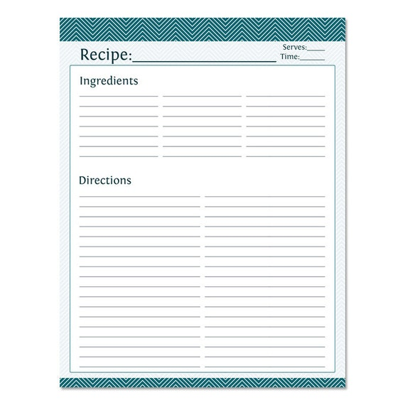 Blank Recipe Page Template - Calendar Examples
