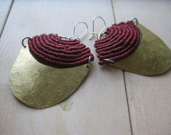 Red Fiber and Brass Macrame Moon Earrings