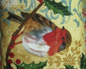 Quilted Bird and Holly Pillow