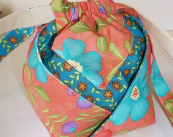 Blue and Peach Flower Drawstring Purse