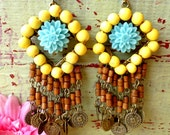 Chandelier - earrings - Turquoise & Yellow - Bohemian, African, Ibiza ooak Statement Jewelry - DazzlingGypsyQueen