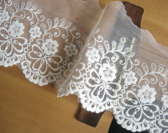 2 yards White Cotton Embroidered Lace Trim with Flowers