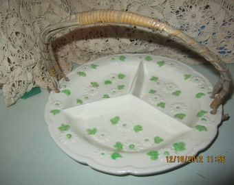 Divided Dish with Wicker Handle, Hand Painted, Made in Japan, Old