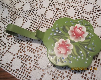 Ransburg Hand Painted Silent Butler, Metal, Roses