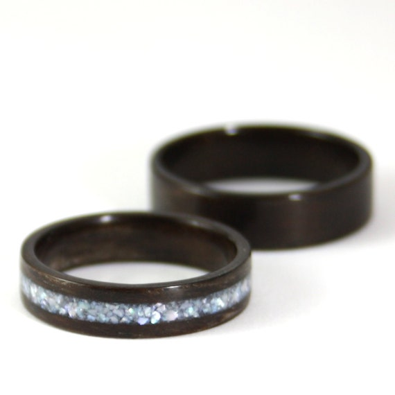 Wooden Wedding Ring Set Rosewood Wood Ring With Pearl Inlay