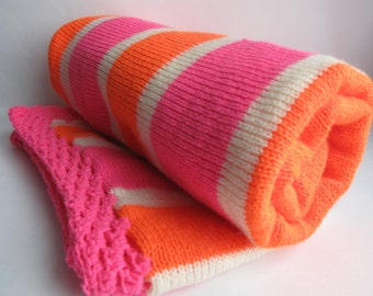 Orange, pink and cream knitted baby blanket 70 x 90  cm