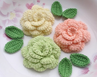 3 Crochet  Flowers (Roses) With Leaves YH - 142-09