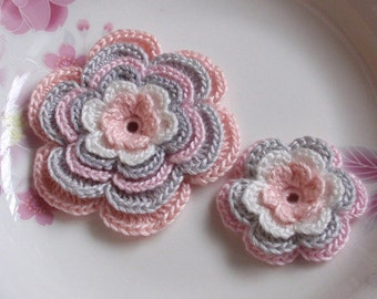 2 Crochet Flower in 3  inches And 1-3/4 inchesYH-120-06