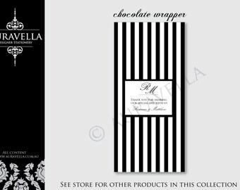 PDF Printable chocolate wrapper / candy wrapper. DIY. Simple stripes black and white