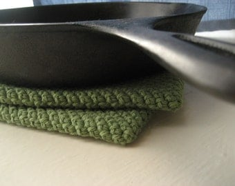 Crocheted Double Thick Pot Holder / Trivet Set of 2 - Sage Green