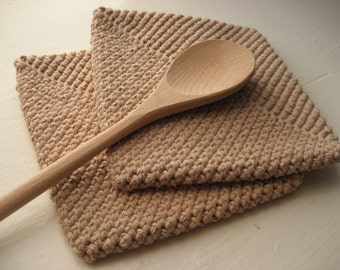 Crocheted Double Thick Pot holder / Hot Pad Set of 2 - Tan / Light Brown