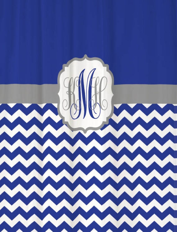 items similar to shower curtain royal blue half chevron