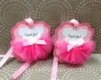 Handmade Tulle Pink Ballerina Thank You Tag for Girl