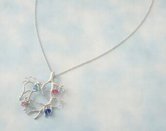 Winter Tree Necklace - Birthstone necklace, Mother Necklace, Grandmother necklace, Family Necklace