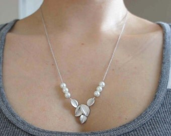 Wedding Necklace. Silver Five Leaves Pendant With Pearl Necklace. Gift for Her. Under 25