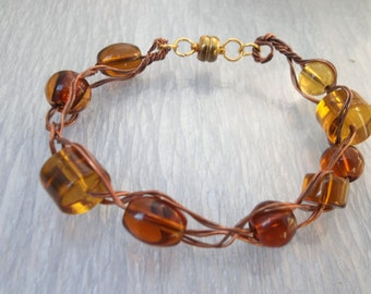 Copper Braided Amber Glass Beads Bracelet