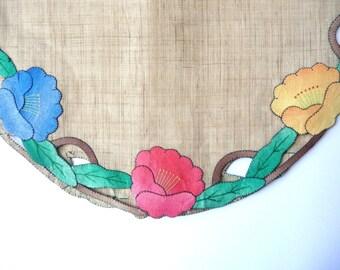 Set of Four Linen Patch Work Cloths - Vintage Handmade - Unused