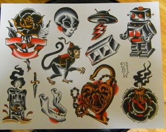 Neo-Traditional Tattoo Flash Sheet
