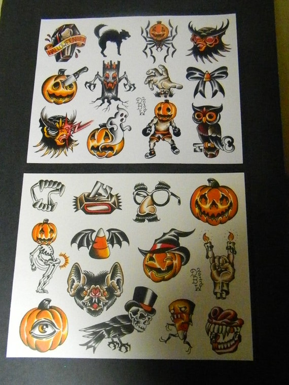 Halloween: Traditional Tattoo Flash Sheet set