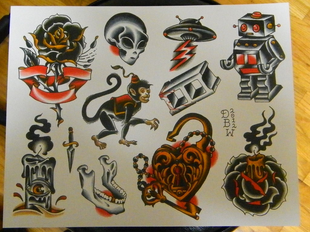 Neo Traditional Tattoo Flash Sheet