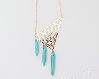 """Geometric Dotted Triangle Filigree with Three Layered Howlite Turquoise Horns, 16.25"""" Necklace"""