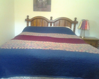 Knitted King Size Bed Afghan / Extra Large Blanket - free domestic parcel post shipping - See Shop Announcement for Coupon Code