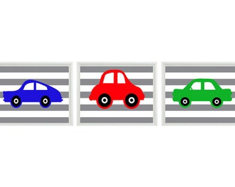 Car Art Print Set   prints - Nursery Boy Room - Red Green Blue Gray Stripes - Transportation Wall Art Home Decor