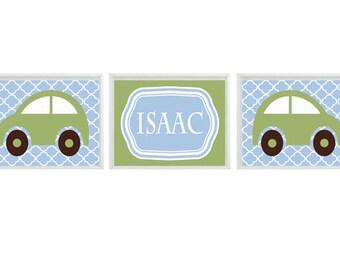 Car Nursery Art -  Name Personalize  - Blue Green Boy Room Transportation Nursery Playroom - Wall Art Home Decor Set   prints