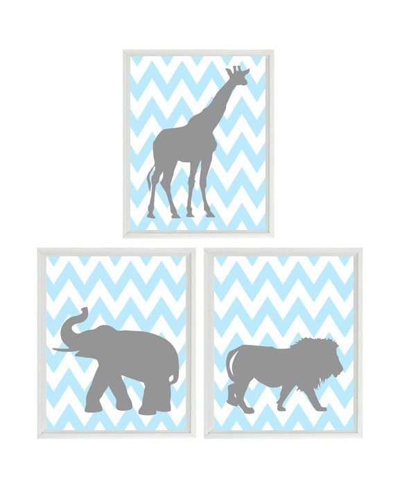 Baby Boy Nursery Art Prints Elephant Giraffe by RizzleandRugee